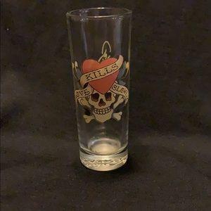 Ed Hardy love kills slowly shot glass